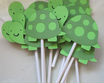 12 turtle cupcake toppers