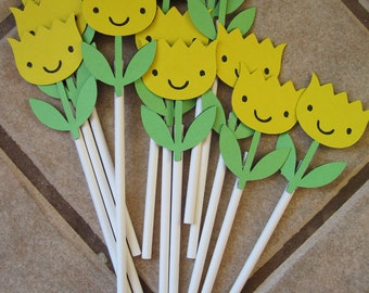 12 yellow flower cupcake toppers