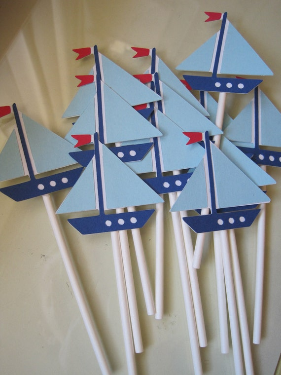 12 sailboat cupcake toppers