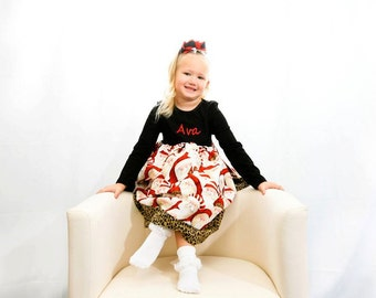 Boutique T-Dress in leopard Santa and leopard print fabric Sizes Newborn to 5T