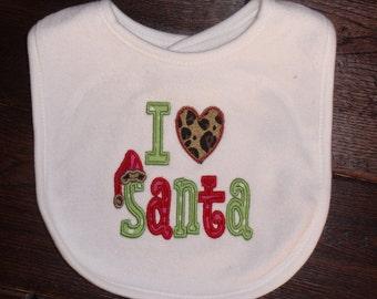 Boutique Christmas Bib Baby Girl or boy I love Santa