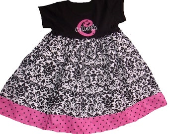 Boutique T-Dress in Damask and pink with black dot fabric Sizes Newborn to 8 Youth
