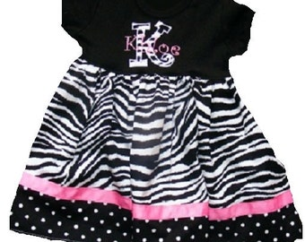 Boutique T-Dress in Zebra and black with white dot fabric Sizes 3M to 5T