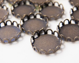 12mm Antique Bronze Lace Setting Tray for Cabochons and Cameos, 10 PC (INDOC167)