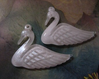 Beautiful Translucent Pearlescent Swan Pendants, 2 PC