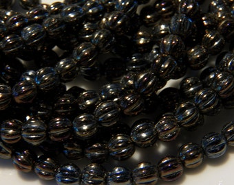 5mm Iris Brown - Czech Pressed Fluted Melon Glass Beads, 25 PC (INCM349)