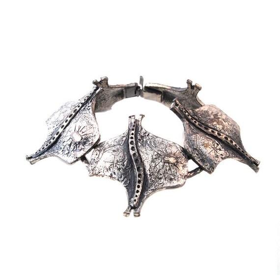 Modernist Bracelet Guy Vidal Canada Vintage Silver Pewter 1970s Brutalist Montreal Robert Larin