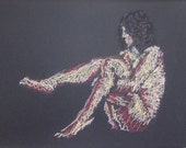 Original nude female figure sitting with legs upraised -- drawn with soft pastels (Mature)