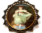 Vintage Brass Picture Frame Victorian Art Print Rococo Oval with Convex Glass