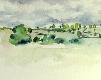 Far away fields - watercolor painting, original plein air watercolour by Elizabeth Cadd