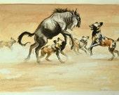 Wild Dog Wildebeest Painting Watercolor Original 10x14