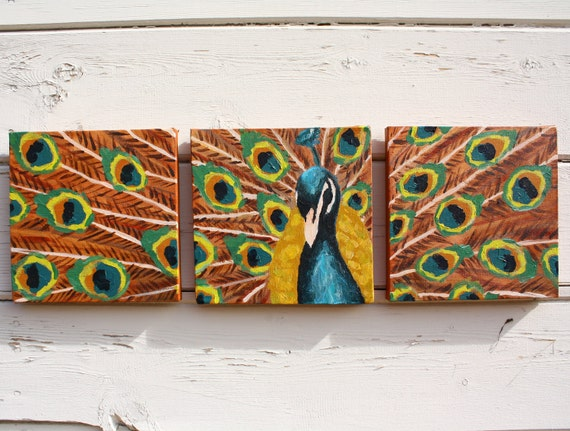 Peacock Original 3 panel  Acrylic Painting 8x24 FREE SHIPPING