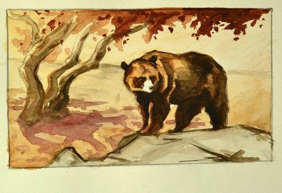 Black Bear Painting Watercolor Original 9x12