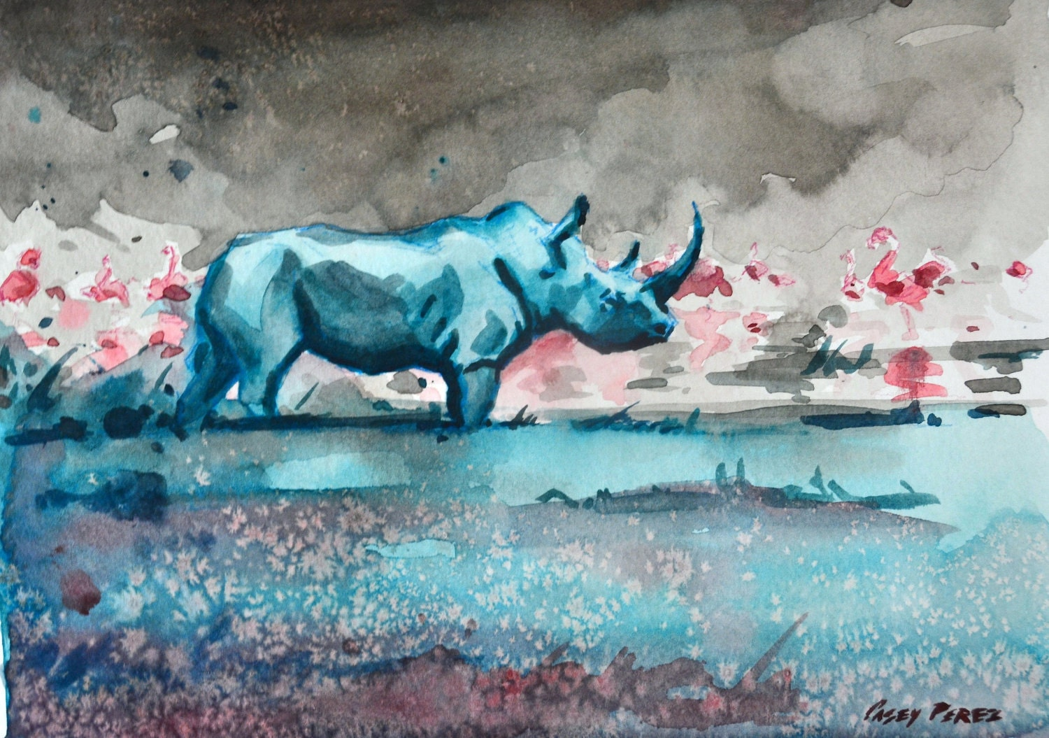 Rhino Painting Watercolor Colorful Original by ...