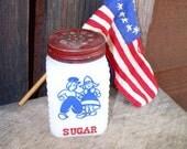 Milk Glass Sugar Shaker- Red White Blue- Dutch Kids