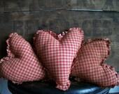 Primitive Red Gingham Raggedy Heart Bowl Filler Tucks