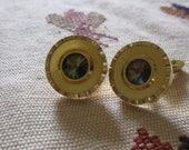 Vintage round gold tone t-bar cufflinks with a brown-green stone