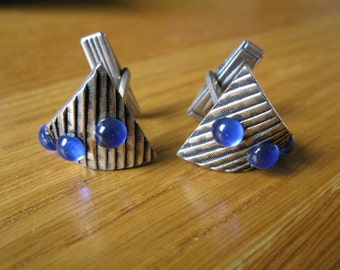 Funky brass and blue glass vintage cufflinks