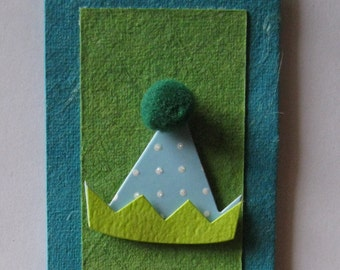 Handmade green, blue and turquoise party card 105mm x  215mm (DL)