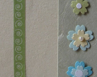Handmade cream, green and turquoise Chiyogami paper card 105mm x  150mm (A5)