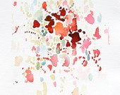 """Splash - small original abstract watercolor paintings in red, pink, and green, 6x6"""""""