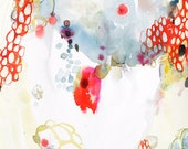 """Yellow Mist - original abstract watercolor painting in yellow, red, and blue medium 12x18"""""""