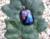 Dichroic glass pendant, Fused glass jewelry, free necklace - Purple, Gold, and Blue
