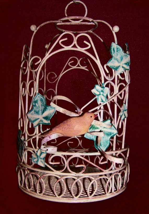 Vintage Metal Hanging Decorative Birdcage Bird Cage - Shabby Chic - Cottage