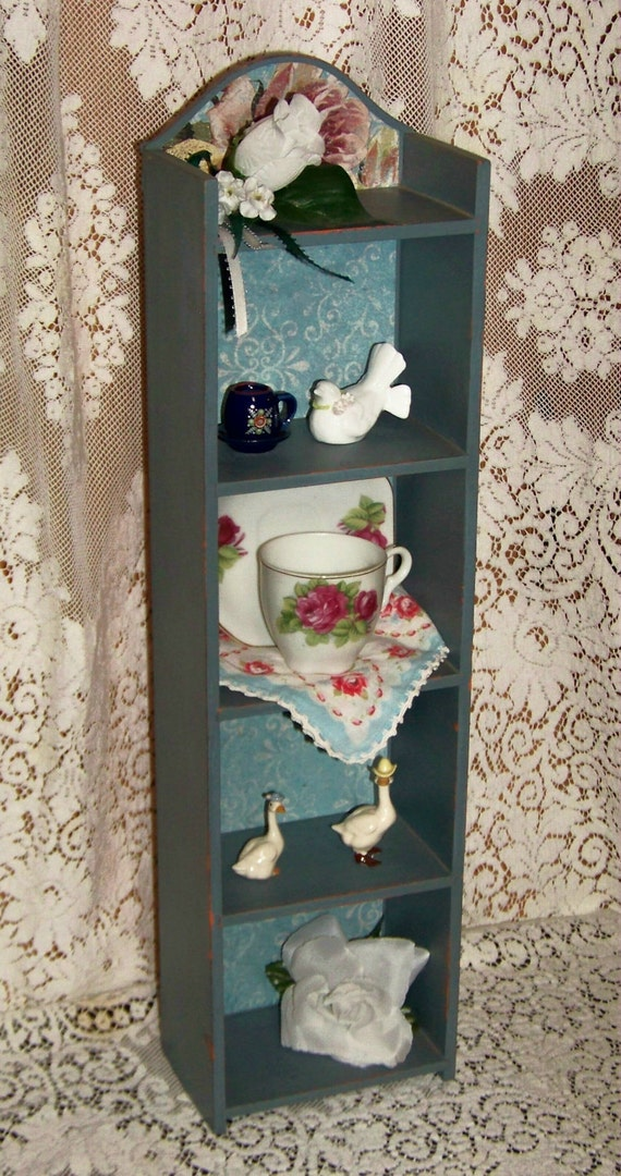 Upcycled ReFabbed vintage wood shelf cabinet - hang or sit - shabby chic - victorian - farmhouse - cottage