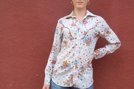 Vintage Lightweight Floral Cowgirl Shirt