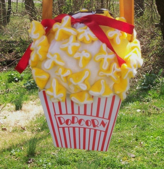 Popcorn Purse, Short and Stout Yellow, White, Red, and Brown Food Drawstring Bag