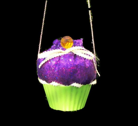 Girls Cupcake Purse, Shiny Purple Sequins, Yellow, and Green Cupcake Purse