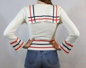 Vintage 70s red white and blue patriotic nautical SAILOR yacht KNIT sweater XS-M