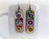 Rainbow Cloisonne Earrings: copper earrings with spiral circles - FREE SHIPPING WORLDWIDE