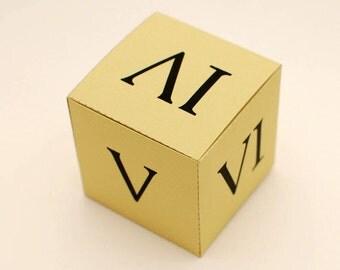 ALEA IACTA EST printable diy gift box, fun packaging, favor box, cupcake box, small mini gift box, Instant Download