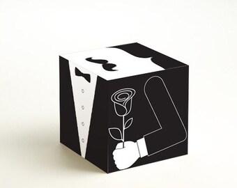 Mr. Moustache Modish - large printable DIY gift box, favor box, cupcake box, small mini gift box, INSTANT DOWNLOAD
