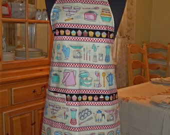 Very Retro Apron with Kitchen Appliances, Cupcakes and Gingham by Dan Morris for RJR Fabrics