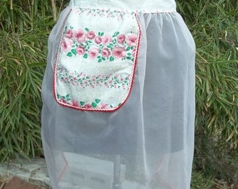 Light Pink Sheer Apron with Pink Flowers and Pink Buds and Small White Flower Acccents