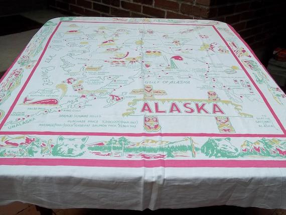 Vintage Alaska Souvenir Tablecloth
