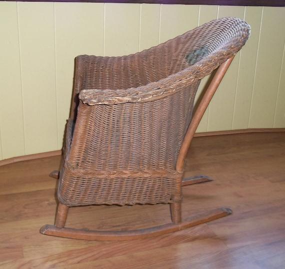 Victorian Heywood Wakefield Child Rocker Rocking Chair Wicker