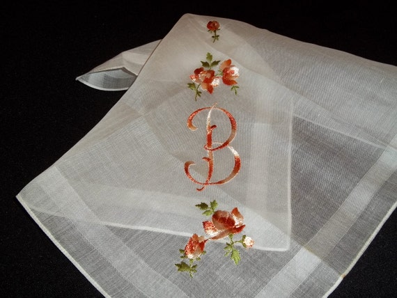 Lovely Unused White Cotton Handkerchief Hankie Hanky Rust and Beige Monogrammed Letter B