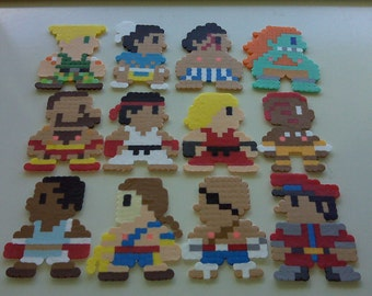Street Fighter II Perler Bead Christmas Ornament Set (12 piece) hama beads - snes