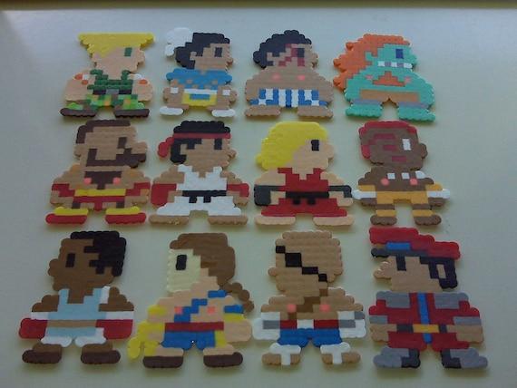 Street Fighter II Perler Bead Christmas Ornament Set (12 piece) hama beads - snes