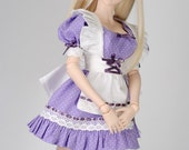 OOAK Purple Polka Dot Maid Dress for Dollfie Dream