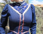 Prairie Sister, Dance With Me Under the Moon - Gunne Sax RARE Vintage 1970s Denim Dress, Small