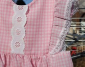 Pink Baby - Vintage Homemade Gingham Little Girls Dress, Eyelet Lace Ruffles, 6 - 12 months