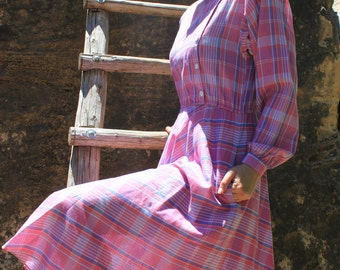 Country Roads Take Me Home - Vintage 1980s Striped Dress, Plum Periwinkle, Small / Medium