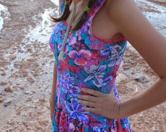 Flouncy Floral - Vintage 80s Sundress Summer Party Dress, Lingerie, OSFM