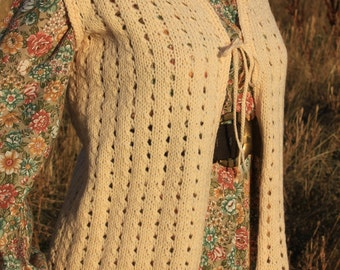 Golden Wheat - Vintage Homemade 1970s Hippie Sweater Vest Boho Cardigan, Small / Medium