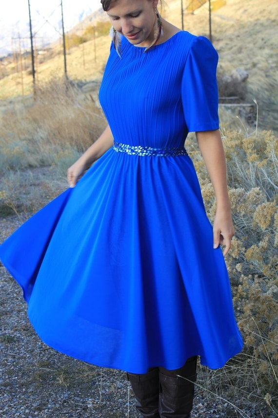 Bedazzling Blue - Vintage Glamour New Year's Party Dress, 1980s Glitz, Medium / Large